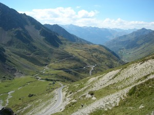 The view down the other side of the pass--in the Tour they climb both approaches, sometimes in one day!